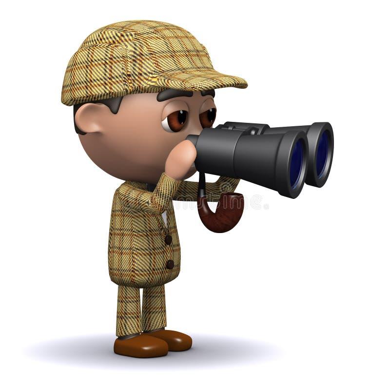 3d Sherlock双筒望远镜 向量例证