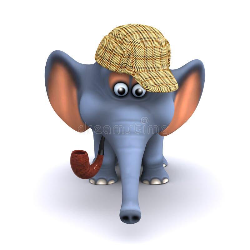 3d Sherlock大象 库存例证
