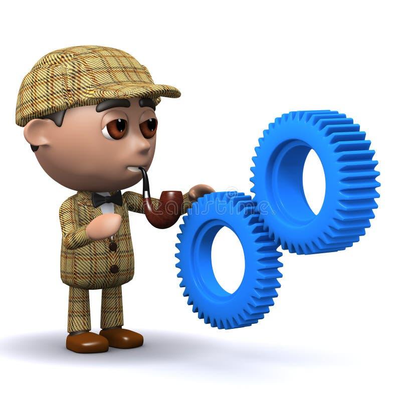 3d Sherlock嵌齿轮 皇族释放例证