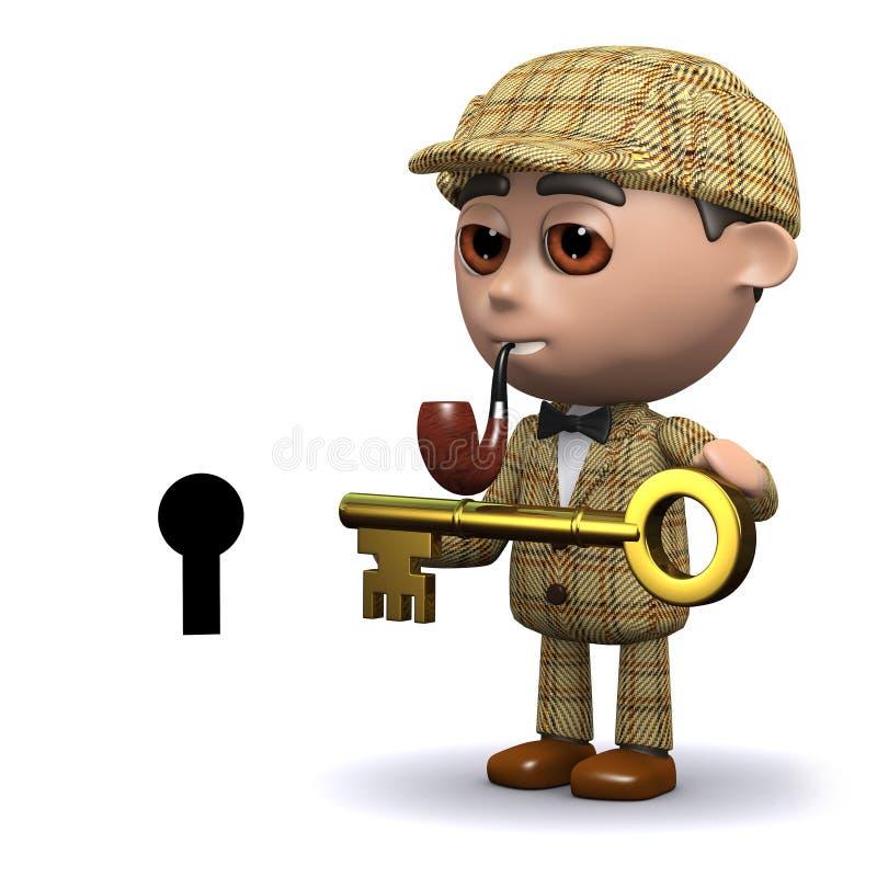 3d Sherlock有钥匙 向量例证