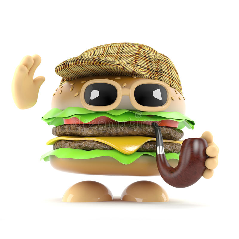 3d Sherlock汉堡 库存例证