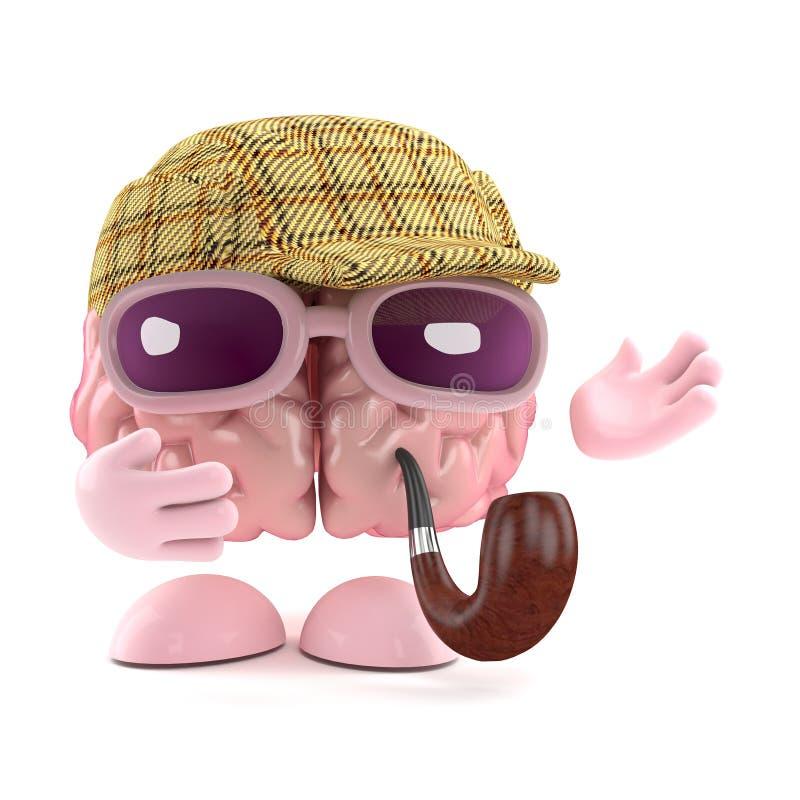 3d Sherlock脑子 向量例证
