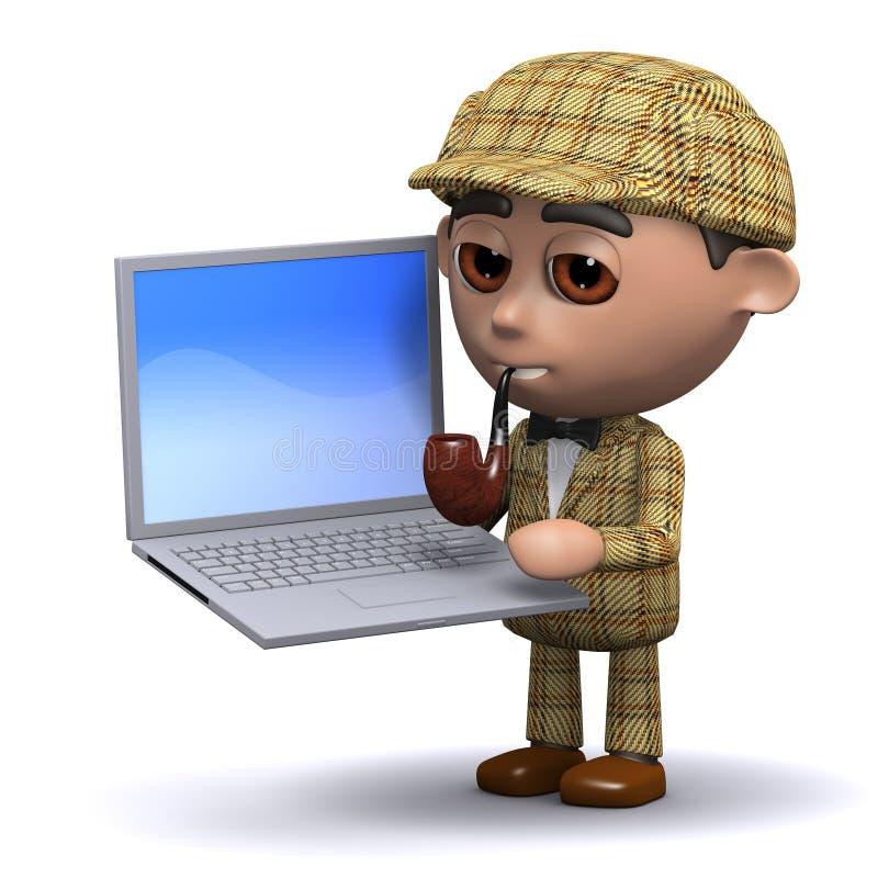 3d Sherlock膝上型计算机 皇族释放例证