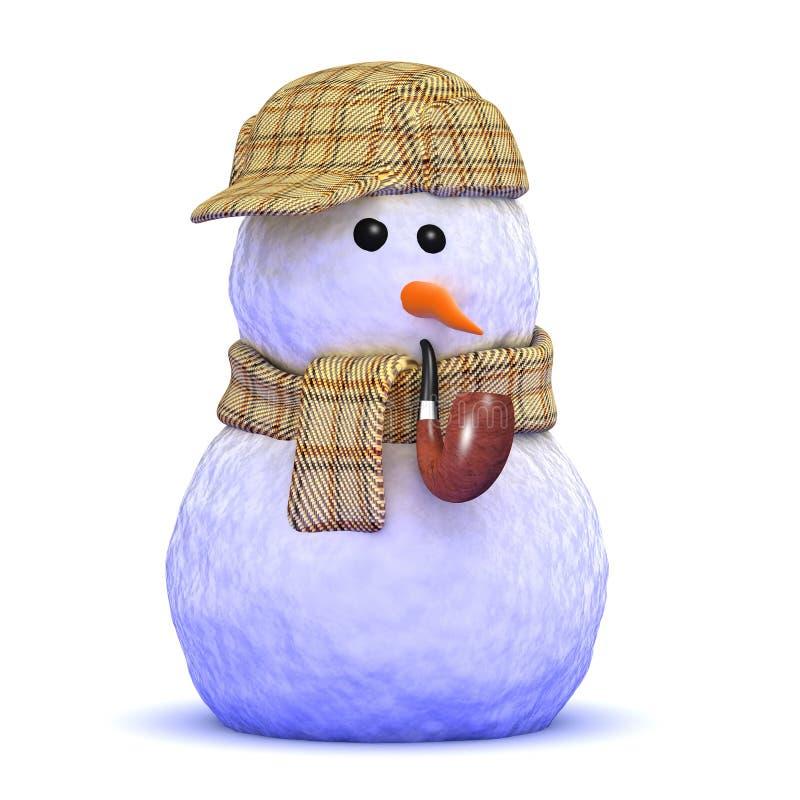 3d Sherlock雪人 向量例证