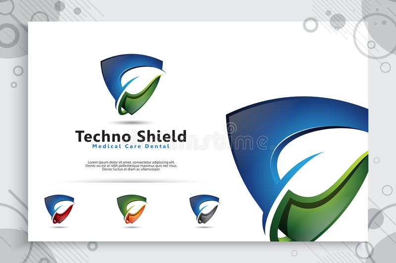 3d shield tech vector logo design with modern concept , abstract illustration symbol of cyber security  for digital template vector illustration