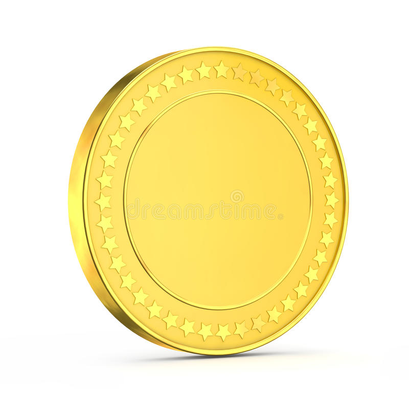 3d shiny gold coin vector illustration