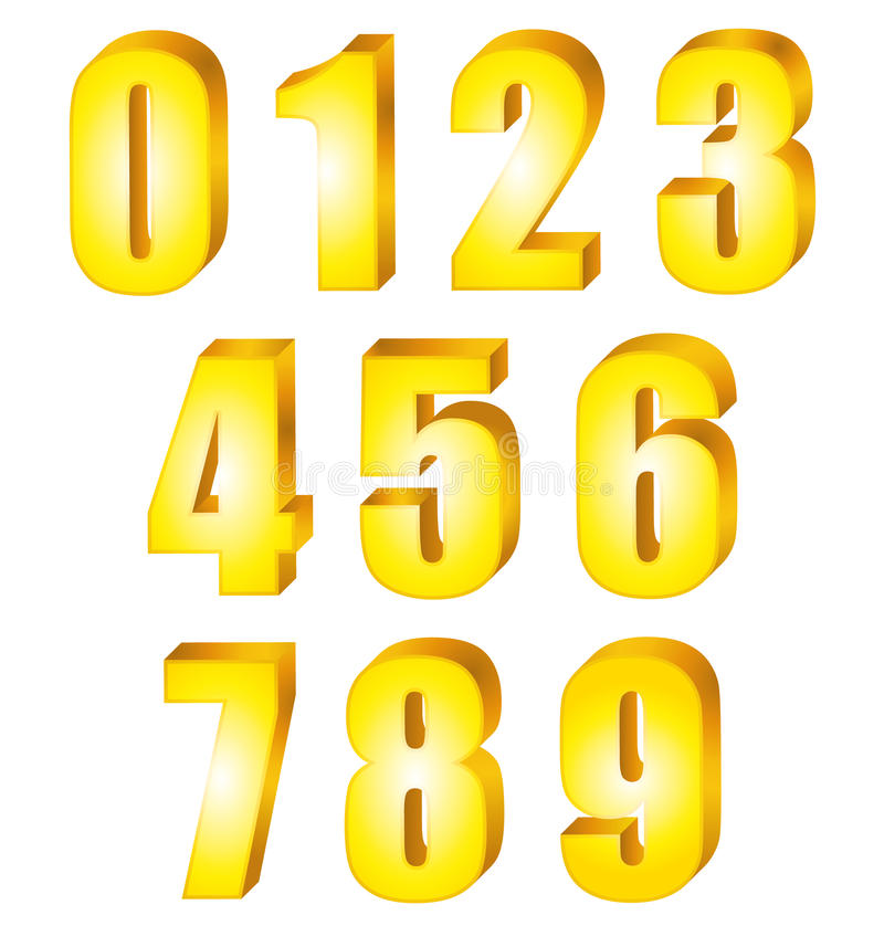 3d Shiny Gold Numbers Set  Stock Vector  Illustration Of