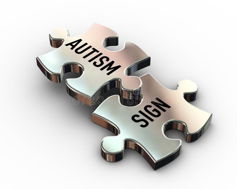 3d shiny metal puzzle pieces of autism and sign. 3d rendering of puzzle pieces having word text autism and sign vector illustration