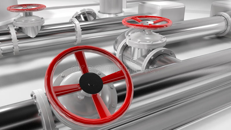 3D shiny metallic pipes and red control wheels in a pipes structure. royalty free illustration