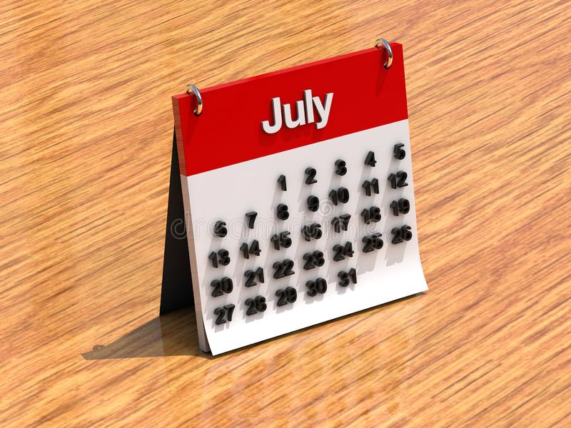 Calendar for July. 3d shiny standing red and white calendar - July vector illustration