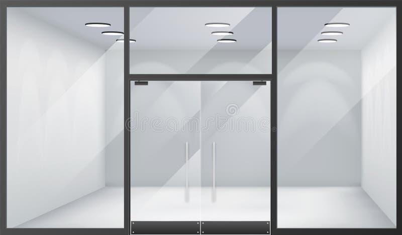 3d shoppar realistiska fönster för tomt inre främre lager som utrymme stängde illustrationen för vektorn för bakgrund för dörrmal vektor illustrationer