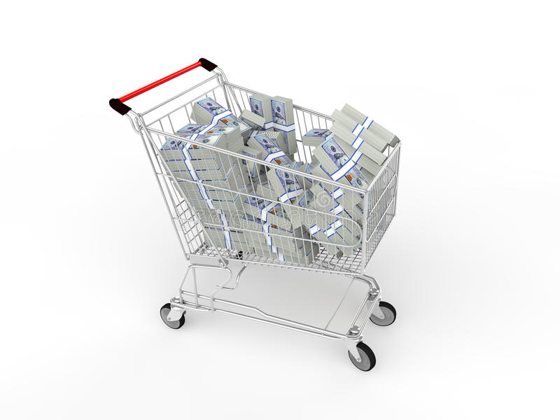 3d shopping cart with cash stock photos