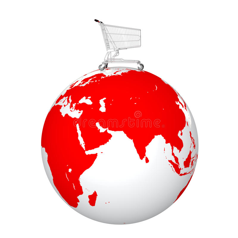 3d shopping cart on an earth globe royalty free stock photo