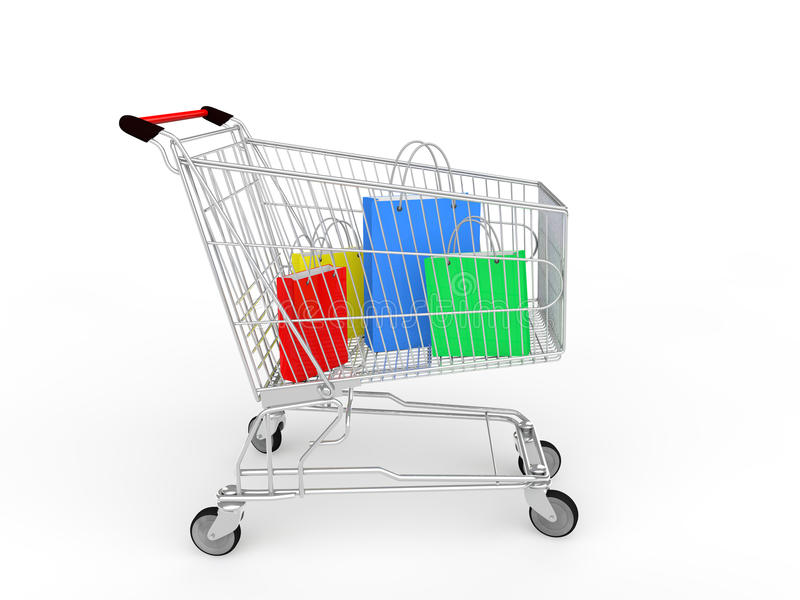 3d shopping cart with gifts bags stock photos