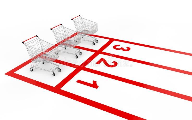 3d shopping cart sale race concept stock photos