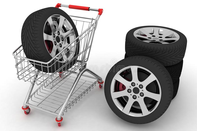 3D Shopping cart with wheel. S. Conception of purchase of repair parts for a car royalty free illustration