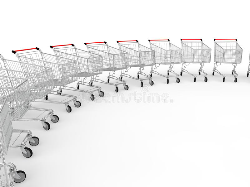 3d shopping trolleys in a row stock photo