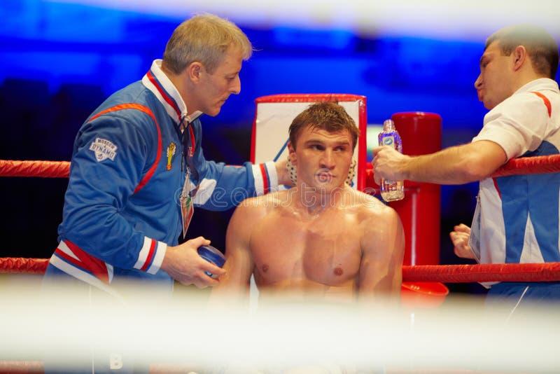 D.Shved Dinamo Moscovo no canto vermelho do anel fotos de stock royalty free