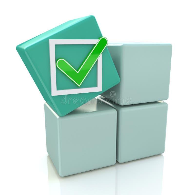 3d si inverdiscono il cubo con il segno del controllo sulle scatole grige illustrazione vettoriale