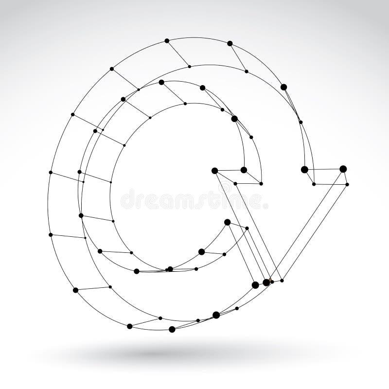 3d siatki czerni sieci aktualizaci elegancki znak na białym backgrou ilustracja wektor