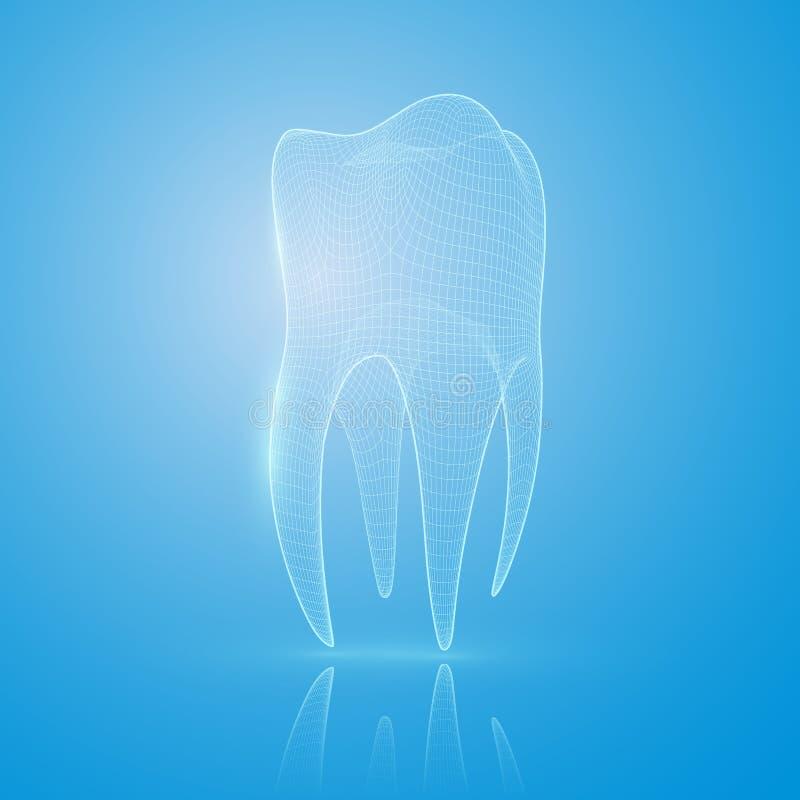 3D siatki ząb na błękitnym tle royalty ilustracja