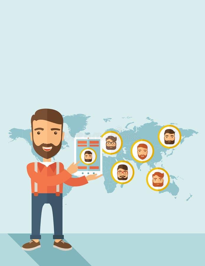 3d sieć obrazek odpłacający się ogólnospołecznym royalty ilustracja