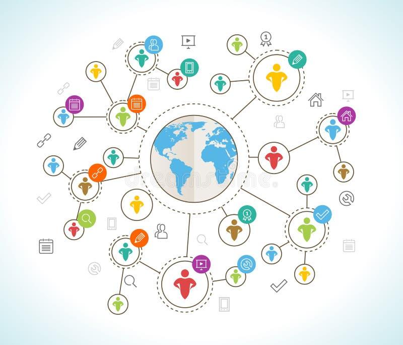 3d sieć obrazek odpłacający się ogólnospołecznym Płaski projekta pojęcie z światową mapą ilustracji