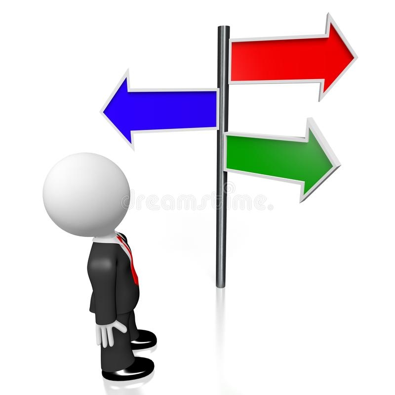 3D signpost with three arrows. 3D cartoon character/ businessman, signpost with three arrows - red, green, blue royalty free illustration