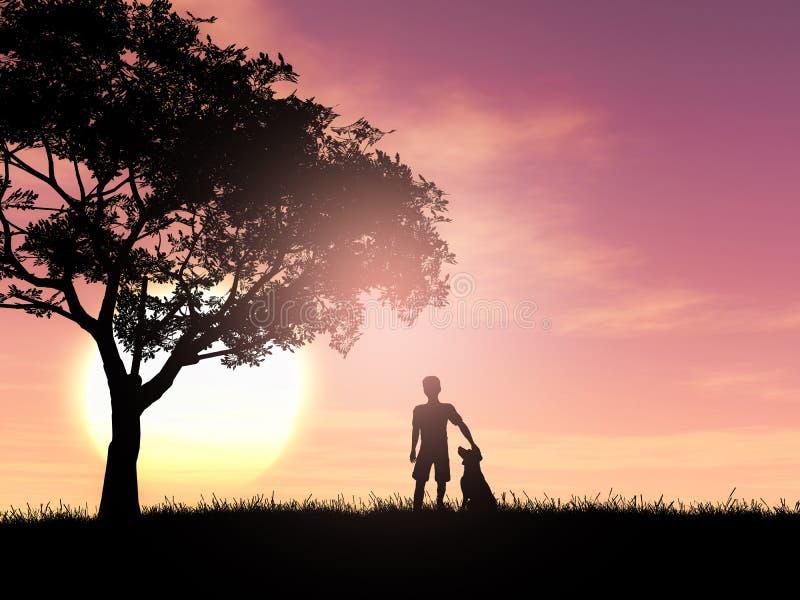 3D silhouet van een jongen en zijn hond tegen een zonsonderganghemel stock illustratie