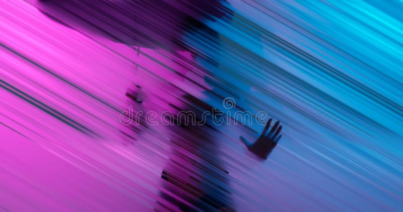 3d rendering. Silhouette of a woman with an umbrella from the rain behind a glass wall or frosted window. Blurred hatching royalty free stock images