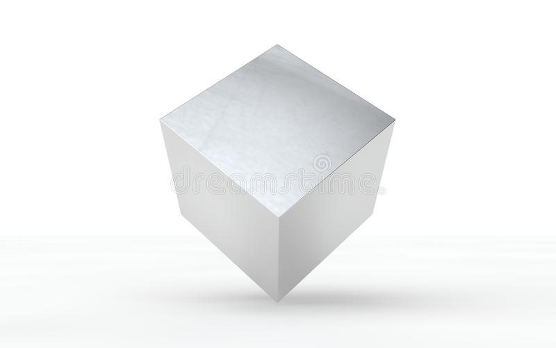 3D silver, shiny cube for graphic design royalty free stock photo