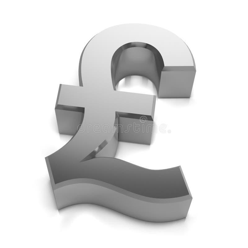 3d Silver Uk Pounds Sterling Currency Symbol Stock Illustration
