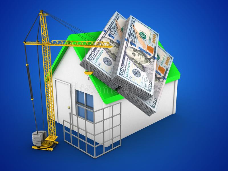 3d simple house. 3d illustration of simple house over blue background with money and construction site vector illustration