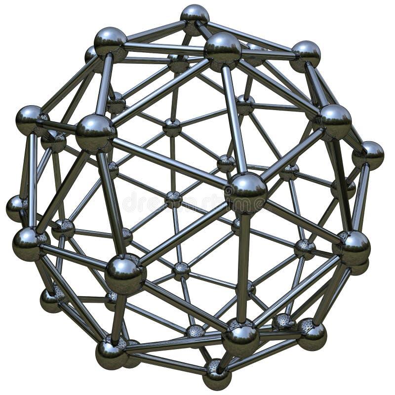 3d simulatie van atoomstructuur vector illustratie