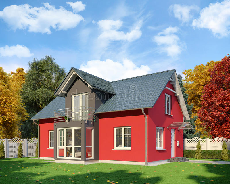 3d - single family house - autumn - day. 3d render - red-black single-family dwelling in blossoming nature in autumn on the day royalty free illustration