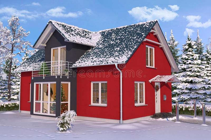 3d - single family house - winter - day. 3d render of a single family house in winter with Christmas decoration - day vector illustration