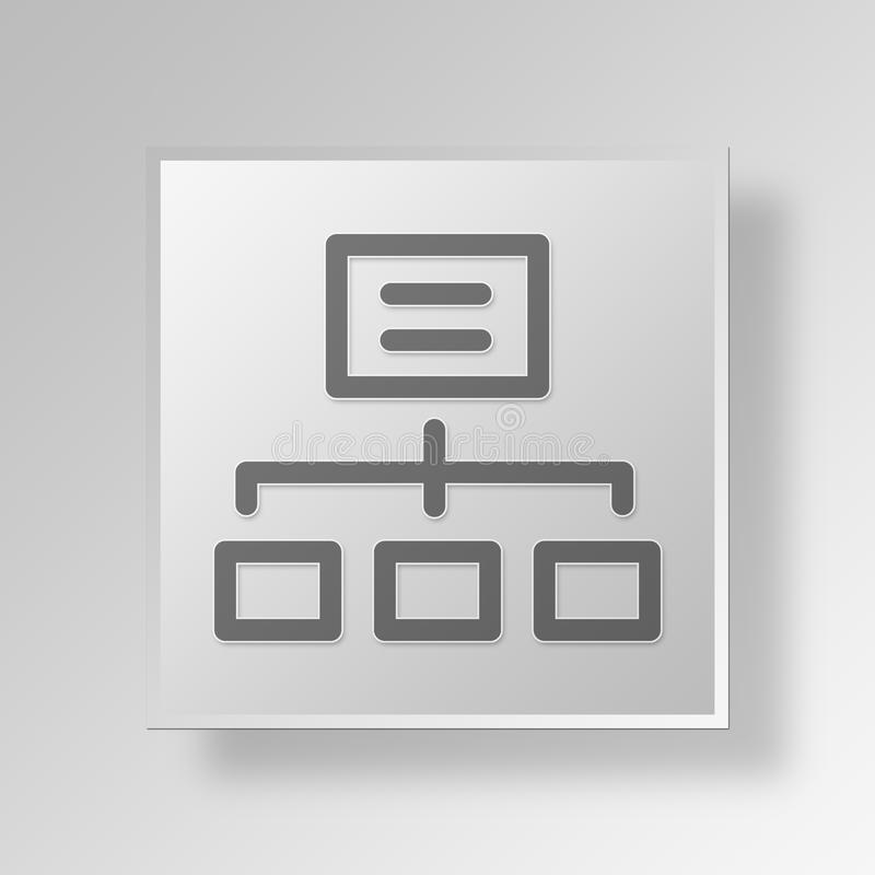 3D Sitemap icon Business Concept. 3D Symbol Gray Square Sitemap icon Business Concept stock illustration