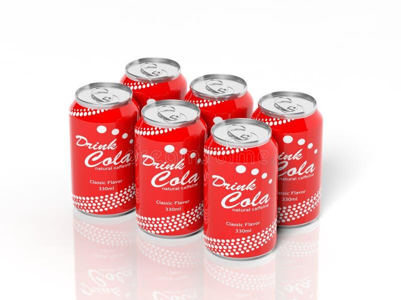 3D six collections de paquet de boîtes de kola illustration libre de droits