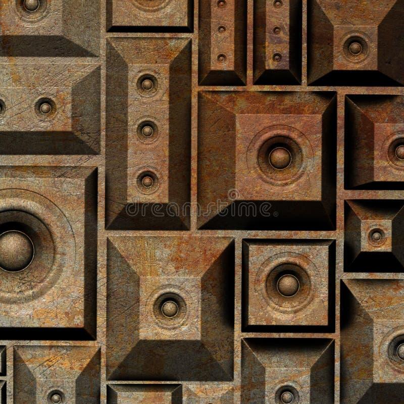 3d składu grunge stary głośnikowy system dźwiękowy ilustracja wektor