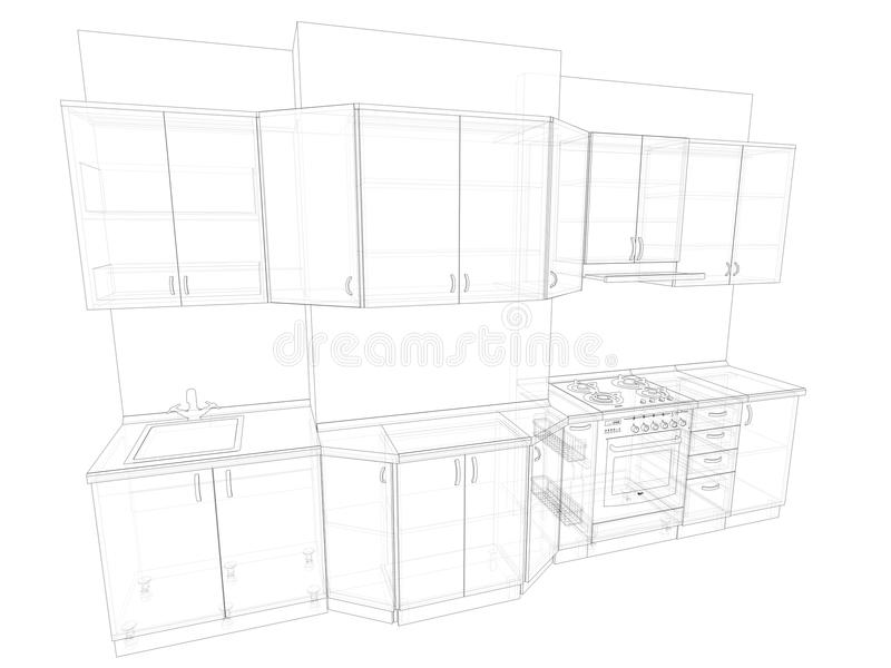 3d sketch of kitchen stock images