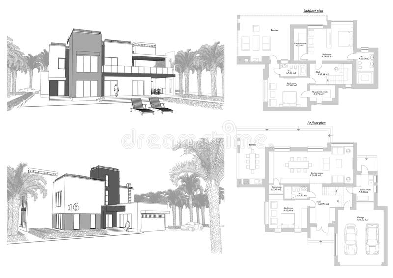 3d sketch of a modern private building with a terrace, facade and back yard view surrounded by palm trees. Floor plan layout vector illustration