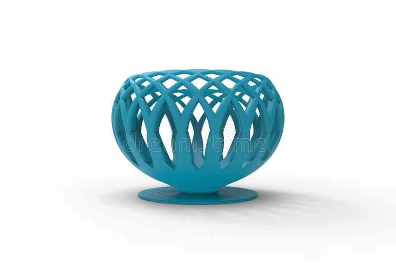 3D skrivev ut den blåa vasen royaltyfri illustrationer
