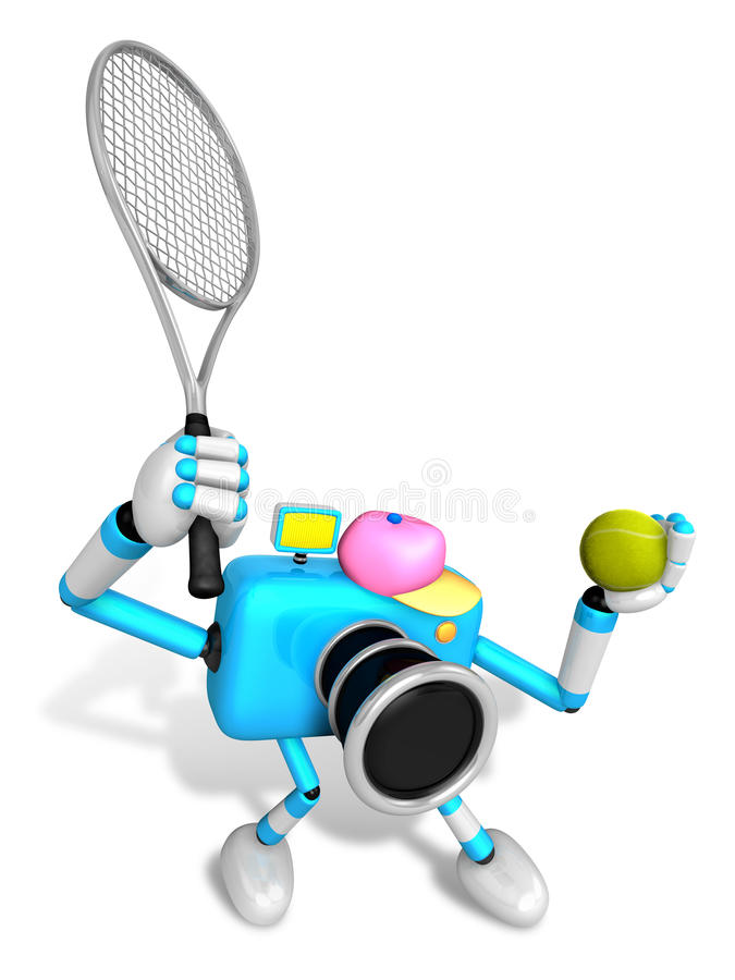 Download 3D Sky Blue Camera Character Is A Powerful Tennis Game Play Exer Stock Illustration - Image: 31569102