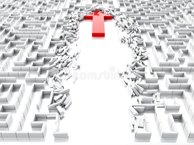 3d slösar pilen som ner bryter väggarna i labyrinten vektor illustrationer