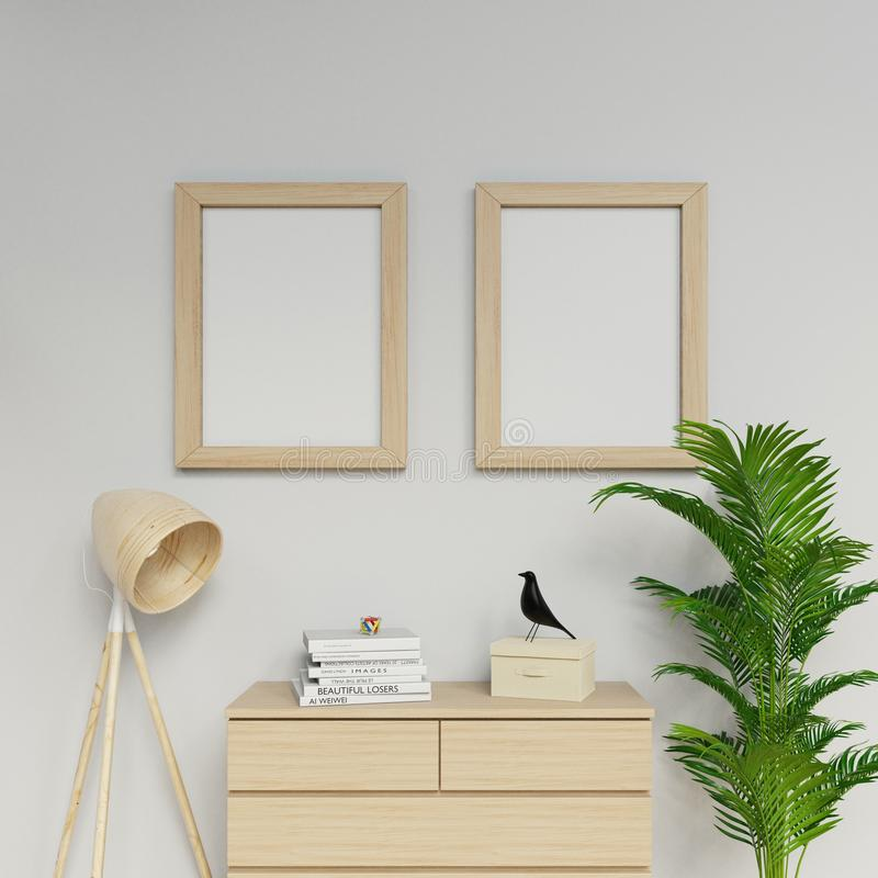 3d sleek rendering of contemporary apartment interior two a2 size empty poster mock up with light wood frame hanging vertically on royalty free illustration