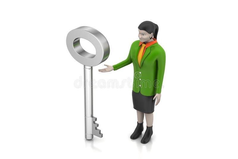 3d sleutel van de vrouwenholding stock illustratie