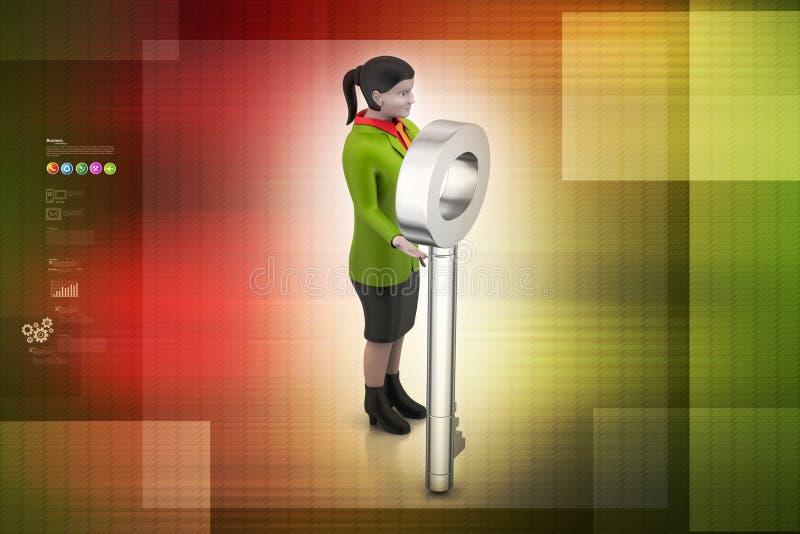 3d sleutel van de vrouwenholding vector illustratie