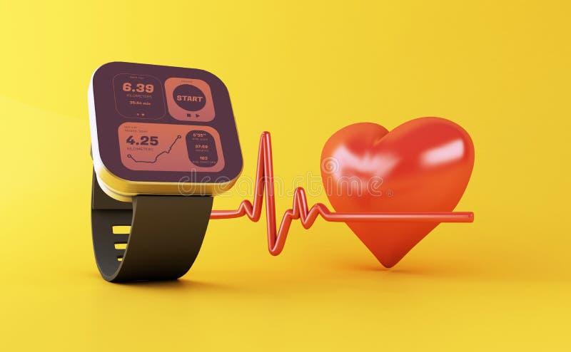 3d slim horloge met gezondheidsapp pictogram stock illustratie