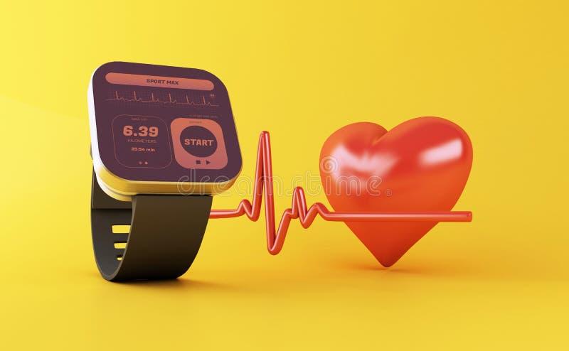 3d slim horloge met gezondheidsapp pictogram royalty-vrije illustratie