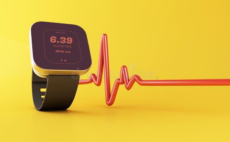 3d slim horloge met gezondheidsapp pictogram vector illustratie